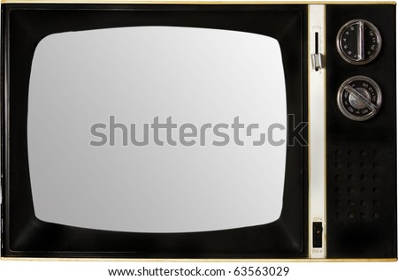 old retro tv with screen blank - stock photo