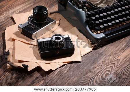 Old retro typewriter on table close-up - stock photo