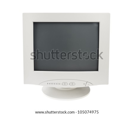 Old Retro Vintage Crt Cathode Monitor Display for computer pc isolated on white background - stock photo