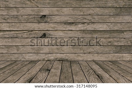 old retro vintage grungy beige brown wood backgrounds texture with tabletop:grunge wood backdrop with wood paving.put and show promotion products on display screen.image with instagram filter effect - stock photo