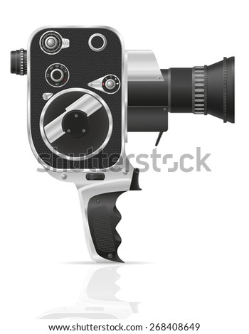 old retro vintage movie video camera illustration isolated on white background - stock photo