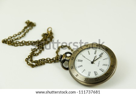 Old retro watch on white background