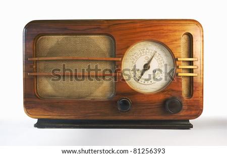 Old retro wooden radio equipment. - stock photo