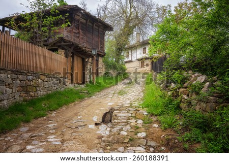 Old revival houses in the architectural complex Bozhenci, Bulgaria - stock photo