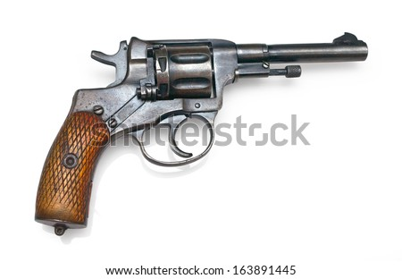 Old revolver on white background with clipping path - stock photo