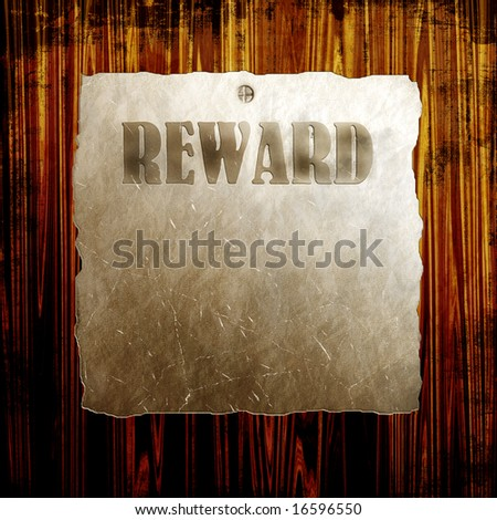 Old Reward Poster On Wood - stock photo