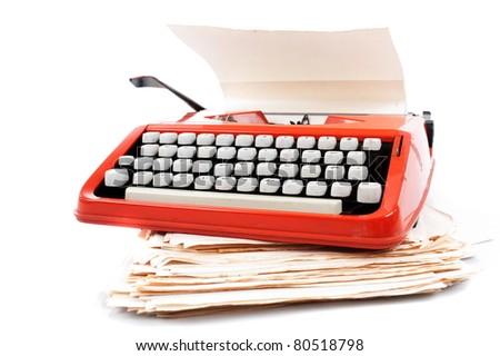 Old ribbon typewriter machine . - stock photo