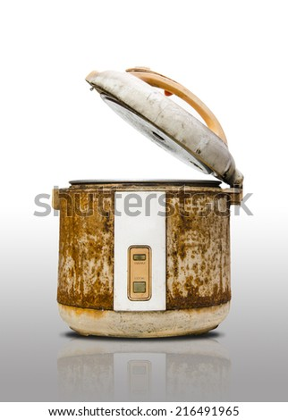 Old rice Cooker in grunge condition - stock photo