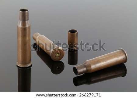 Old rifle and pistol sleeves on a dark mirror background - stock photo