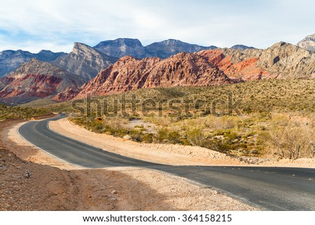 Old Road at Red Rock Canyon State Park, Southern Nevada, USA - stock photo