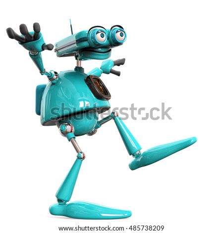 old robot happy balance side view 3d illustration
