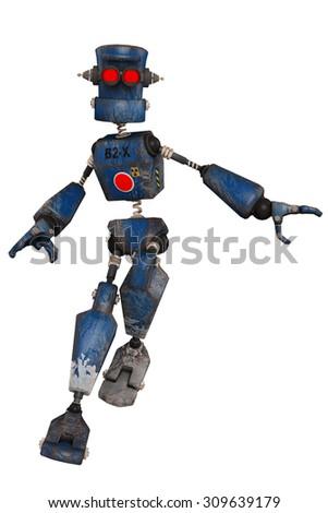 old robot hero - stock photo