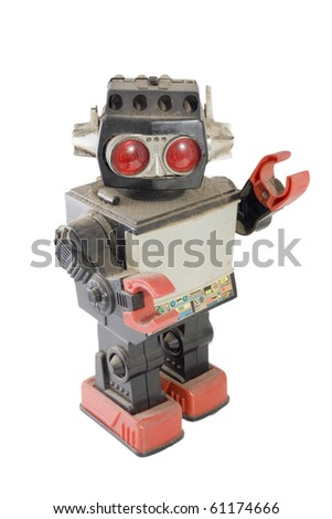 old robot toy greeting - stock photo