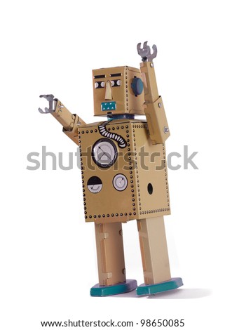 Old robot toy isolated on white background - stock photo