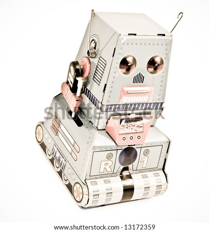 old robot  toy  (retro  color  ) - stock photo