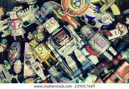 old robot toys  shot from above  - stock photo