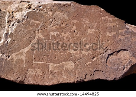 Old rock carvings thousands of years old at Twyfelfontein, Namibia, Africa - stock photo