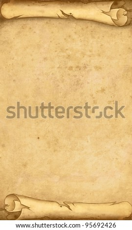 Old roll of parchment illustration - stock photo