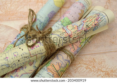 old rolled maps - stock photo