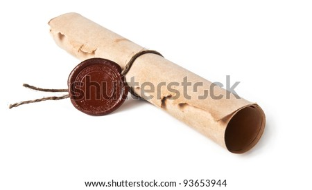 old rolled paper - stock photo