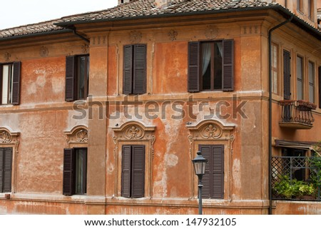 Old roman house by Spanish steps in Rome  - stock photo