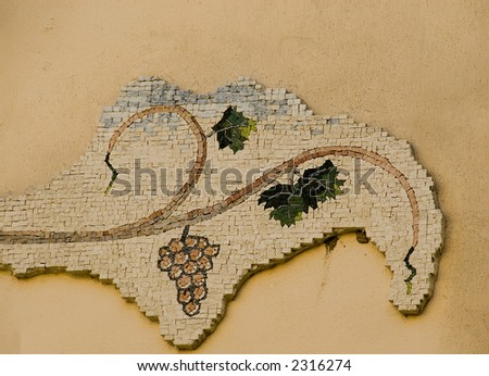 Old roman mosaic found in the Umbria city bevalgna, Italy - stock photo