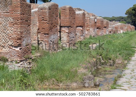 Old roman ruins in Ostia Antica near Roma