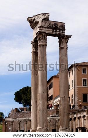 Old roman ruins in Roma  - stock photo