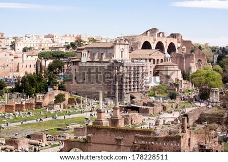 Old roman ruins in Roma