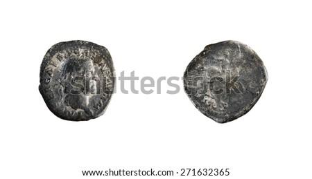 old Roman Silver Denarius - stock photo