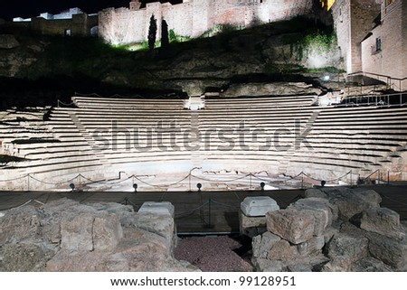 Old Roman theater in Malaga, Spain at night