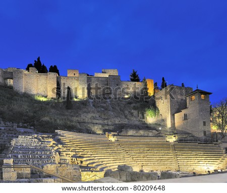 Old Roman theater in Malaga, Spain by night - stock photo