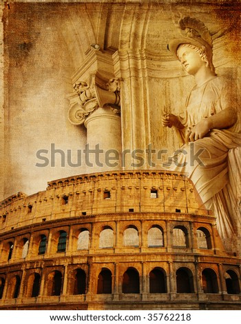 Old Rome - conceptual collage in retro style - stock photo