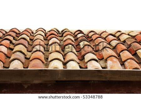Old roof tiles on the white background - stock photo