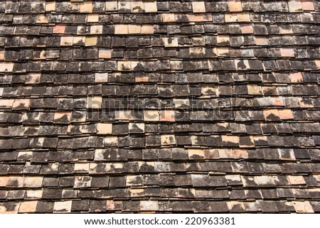 Old roof tiles texture - stock photo