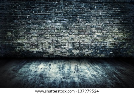 Old Room Grunge Brick Wall Background And Concrete Floor
