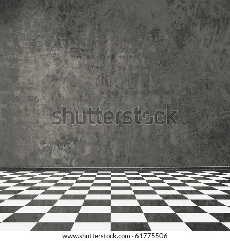 Old room, grunge  interior with frames in style baroque - stock photo