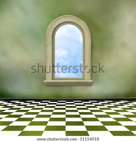 Old room, grunge interior with window in style baroque