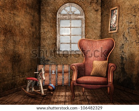 Old room with an armchair, rocking horse and wooden chest
