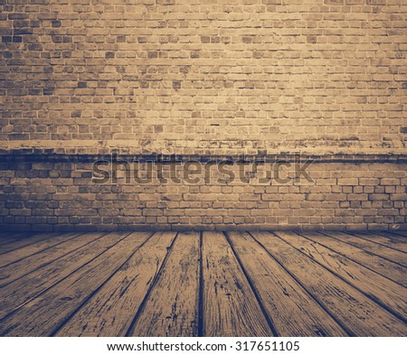 old room with brick wall, grey vintage background, retro film filtered, instagram style - stock photo