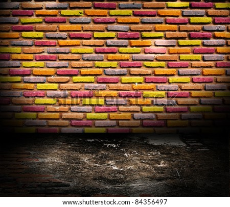 Old room with brick wall. grunge industrial interior Uneven diffuse lighting version. Design component - stock photo