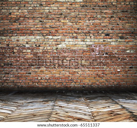 old room with brick wall, vintage background - stock photo