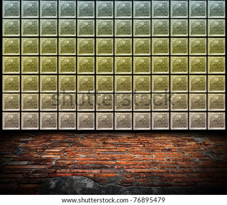 old room with Color of Glass Block Wall. Uneven diffuse lighting version. Design component - stock photo