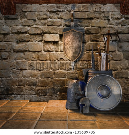 Old room with medieval weapons and armour - stock photo