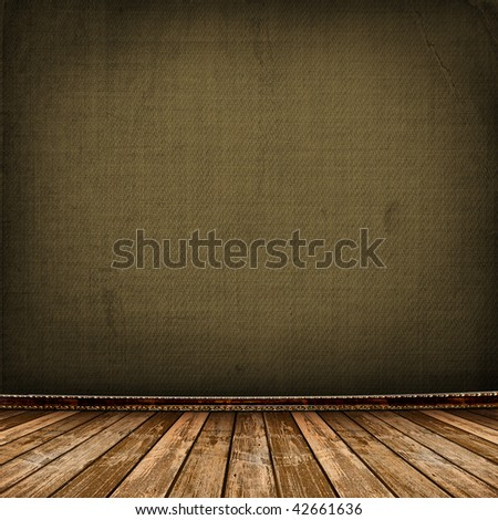 Old room with worn wallpaper and former beauty - stock photo