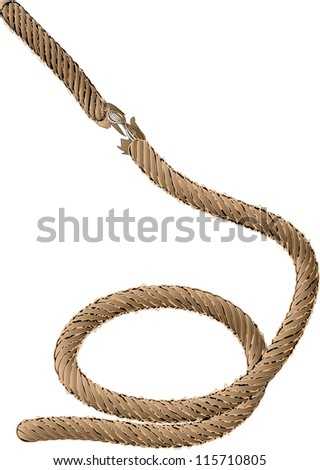 old rope isolated on the white background