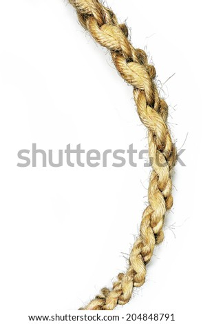 old rope on white background - stock photo
