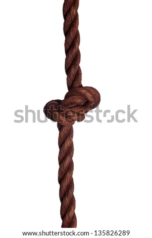 old rope with knot - stock photo