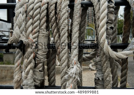 Old ropes at a ship yard on the Hudson River in New York City