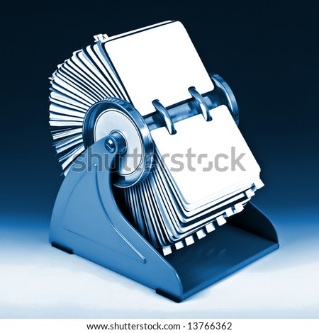Old rotary card 6. Blue version - stock photo